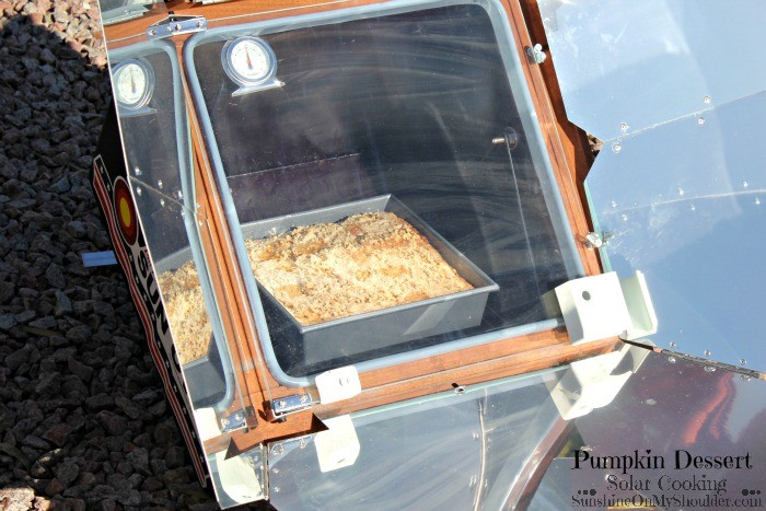 Pumpkin Dessert baking in a solar oven