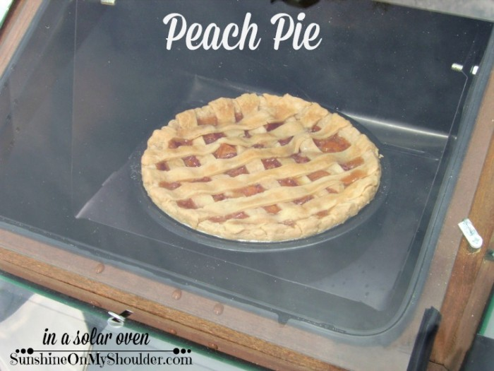Peach pie baked in a solar oven