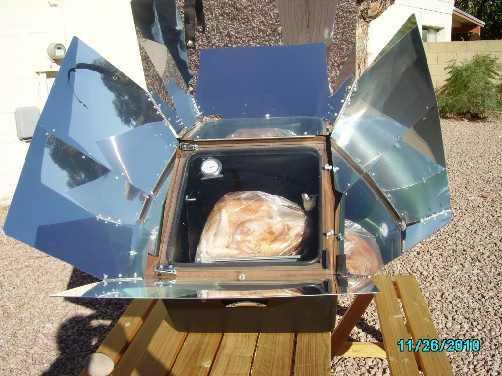 image of solar oven, solar cooking, turkey