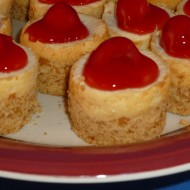 Mini cheese cakes topped with cherry pie filling