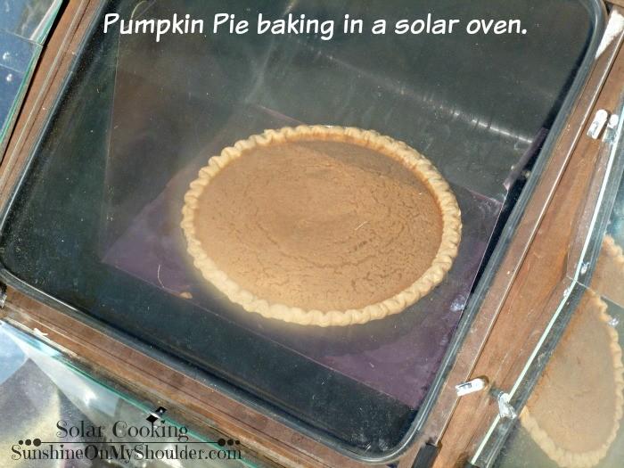Pumpkin pie in a solar oven