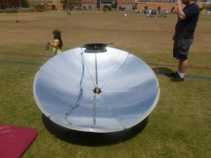 Parabolic solar cooker at 2014 Great Solar Cookout