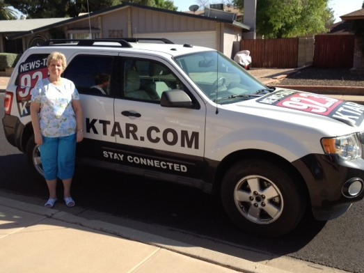 KTAR car at interview for solar cooking