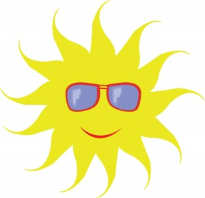 Solar cooking sun wearing sunglasses image