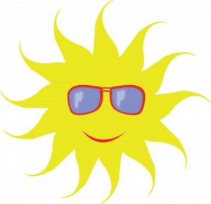 Solar cooking sun wearing sunglasses image