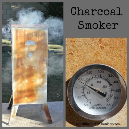 Charcoal smoker smoking