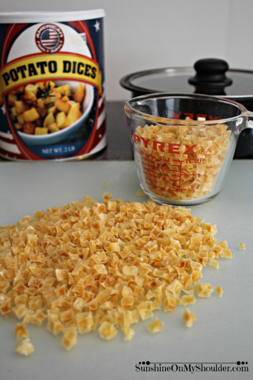 Dehydrated potato dices can be stored for many years in the unopened cans.