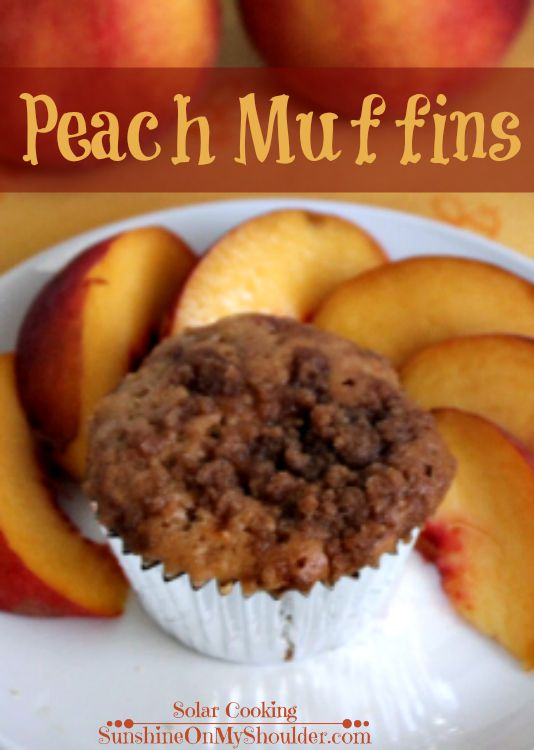 Peach Muffin recipe for solar oven on plate with sliced peaches
