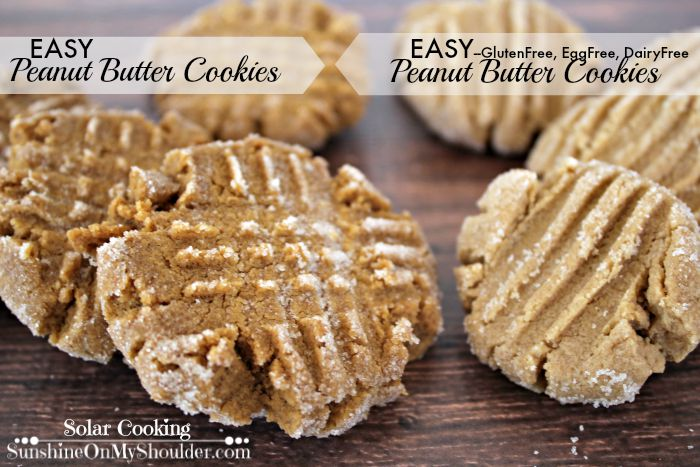 Solar cooking recipe for classic and gluten free peanut butter cookies.