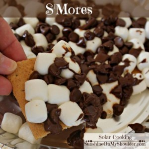 Smores baked in a solar oven