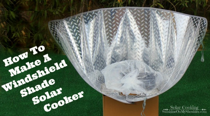 How to make a windshield shade solar cookers; panel solar cooker