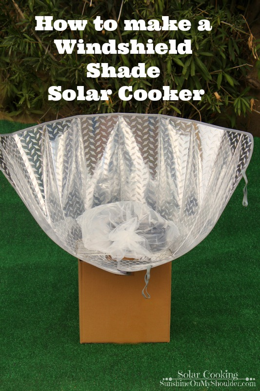 How to make a Windshield Shade solar cooker solar cooking