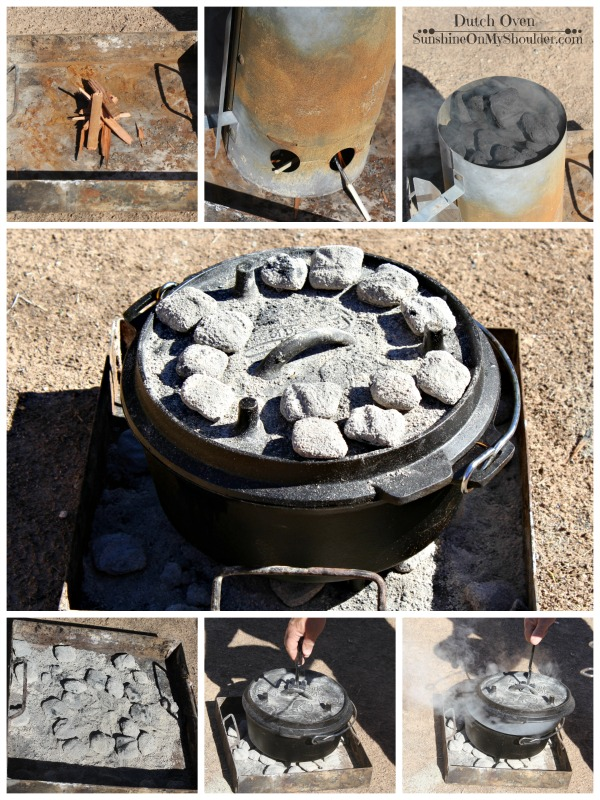 Preparing a Dutch Oven over coals