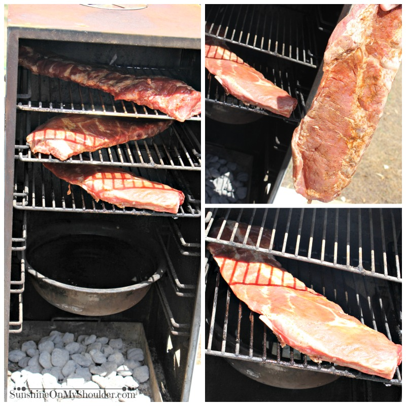 Barbeque ribs in smoker