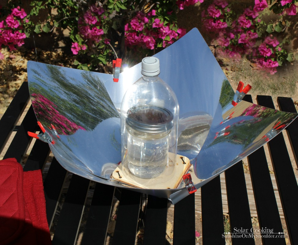 Making a cup of hot tea in a Copenhagen Solar Cooker