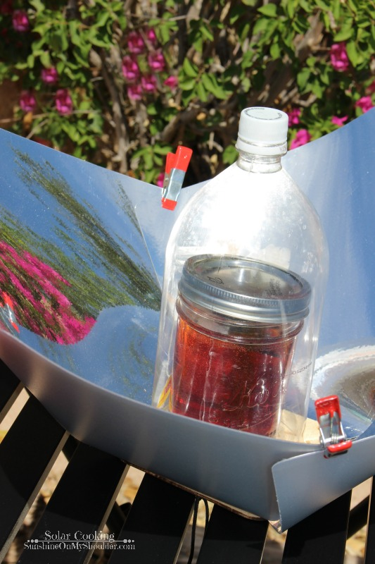 Hot tea made in a solar cooker