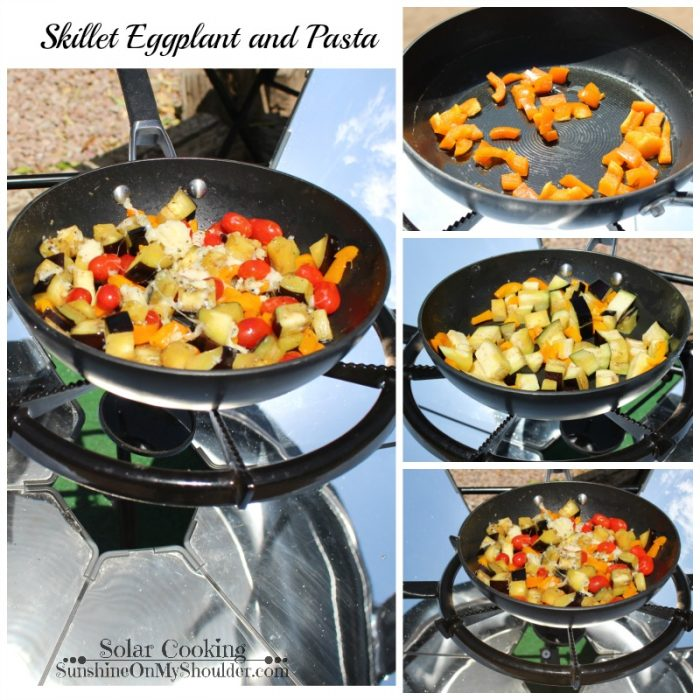 Skillet Eggplant and Pasta solar cooking