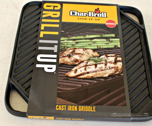 Char-Broil cast iron griddle pan used for solar cooking.