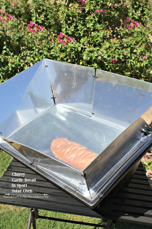 Cheesy Garlic Bread baked in a Solar Oven, solar cooking recipe.