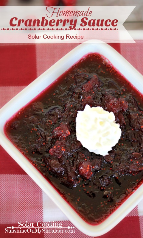 Homemade Cranberry Sauce cooked in a solar oven
