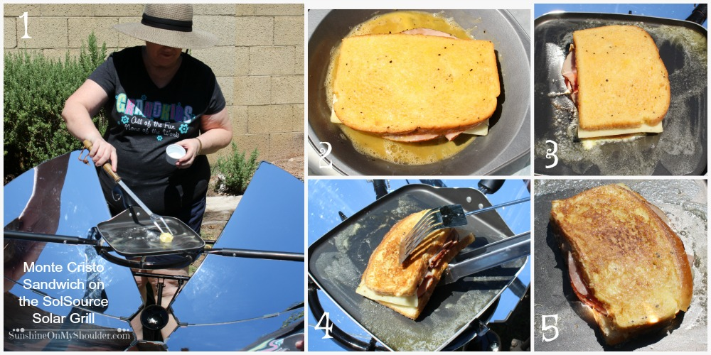 Monte Cristo Sandwich cooked on a Solsource Solar Grill