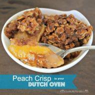 Peach Crisp baked in a Dutch Oven
